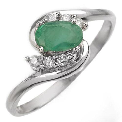 0.60 ctw Emerald & Diamond Ring 14K White