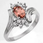 0.80 ctw Pink Tourmaline & Diamond Ring 10K White