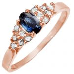 .74 ctw Blue Sapphire & Diamond Ring 14K Rose