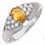 0.90 ctw Yellow Sapphire & Diamond Ring 14K White