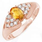 0.90 ctw Yellow Sapphire & Diamond Ring 14K Rose