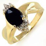 1.79 ctw Blue Sapphire & Diamond Ring 10K Yellow