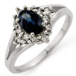 1.05 ctw Blue Sapphire & Diamond Ring 10K White