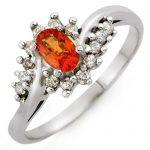 0.55 ctw Orange Sapphire & Diamond Ring 14K White
