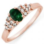 .74 ctw Emerald & Diamond Ring 14K Rose