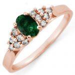 .74 ctw Emerald & Diamond Ring 14K Rose