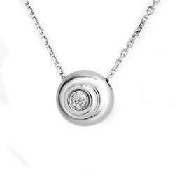 0.10 ctw Certified VS/SI Diamond Necklace 14K White
