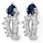 0.90 ctw Blue Sapphire & Diamond Earrings 10K White