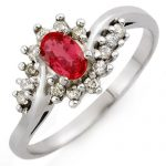 0.55 ctw Red Sapphire & Diamond Ring 18K White
