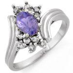 1.0 ctw Tanzanite & Diamond Ring 18K White