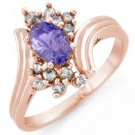 1.0 ctw Tanzanite & Diamond Ring 14K Rose