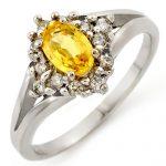 0.95 ctw Yellow Sapphire & Diamond Ring 10K White