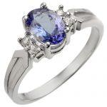 1.10 ctw Tanzanite & Diamond Ring 18K White
