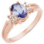 1.10 ctw Tanzanite & Diamond Ring 14K Rose