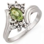 1.0 ctw Green Sapphire & Diamond Ring 10K White