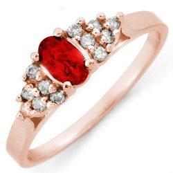 .74 ctw Red Sapphire & Diamond Ring 14K Rose