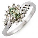 0.55 ctw Green Sapphire & Diamond Ring 10K White