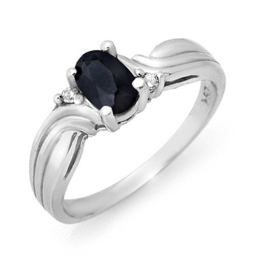 0.61 ctw Blue Sapphire & Diamond Ring 10K White