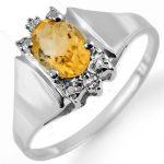 1.23 ctw Citrine & Diamond Ring 18K White