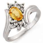 1.0 ctw Yellow Sapphire & Diamond Ring 10K White