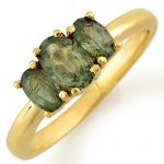 1.18 ctw Green Sapphire Ring 10K Yellow