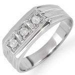 0.20 ctw Certified VS/SI Diamond Men's Ring 18K White