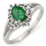 0.85 ctw Emerald & Diamond Ring 18K White