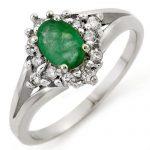 0.85 ctw Emerald & Diamond Ring 10K White