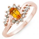 0.55 ctw Yellow Sapphire & Diamond Ring 14K Rose