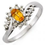 0.55 ctw Yellow Sapphire & Diamond Ring 10K White