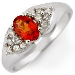 0.90 ctw Orange Sapphire & Diamond Ring 14K White