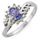 0.55 ctw Tanzanite & Diamond Ring 18K White