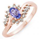 0.55 ctw Tanzanite & Diamond Ring 18K Rose