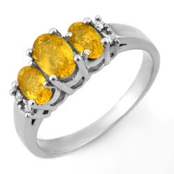 1.39 ctw Yellow Sapphire & Diamond Ring 18K White