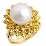 3.0 ctw Yellow Sapphire & Pearl Ring 10K Yellow