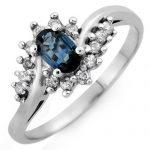 0.50 ctw Blue Sapphire & Diamond Ring 14K White