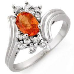 1.0 ctw Orange Sapphire & Diamond Ring 18K White