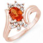 1.0 ctw Orange Sapphire & Diamond Ring 14K Rose