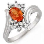 1.0 ctw Orange Sapphire & Diamond Ring 10K White