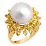 1.50 ctw Yellow Sapphire & Pearl Ring 10K Yellow