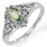 0.95 ctw Green Sapphire & Diamond Ring 10K White