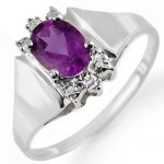 1.23 ctw Amethyst & Diamond Ring 10K White