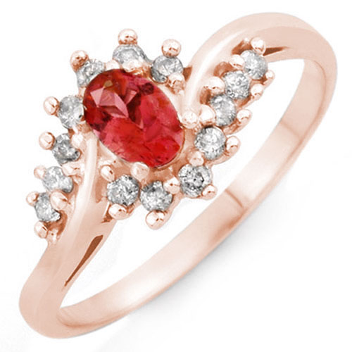 0.50 ctw Pink Tourmaline & Diamond Ring 14K Rose