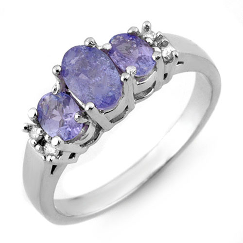 0.99 ctw Tanzanite & Diamond Ring 18K White