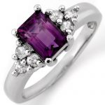1.36 ctw Amethyst & Diamond Ring 14K White