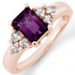 1.36 ctw Amethyst & Diamond Ring 14K Rose