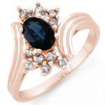 1.0 ctw Blue Sapphire & Diamond Ring 14K Rose
