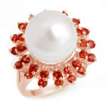 1.50 ctw Red Sapphire & Pearl Ring 14K Rose