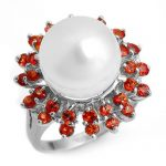 1.50 ctw Red Sapphire & Pearl Ring 18K White