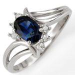 0.70 ctw Blue Sapphire & Diamond Ring 14K White